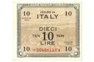 10 LIRE OCCUPAZIONE AMERICANA IN ITALIA BILINGUE ASTERISCO 1943 A SUP