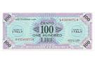 100 LIRE OCCUPAZIONE AMERICANA IN ITALIA BILINGUE FLC A-B 1943 A FDS-/FDS