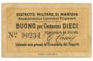 10 CENTESIMI PRIGIONIERI DI GUERRA WWI DISTRETTO MILITARE DI MANTOVA BB+