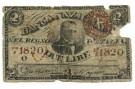 2 LIRE FALSO D'EPOCA BANCA NAZIONALE NEL REGNO DISEGNO A MANO 25/07/1866 MB