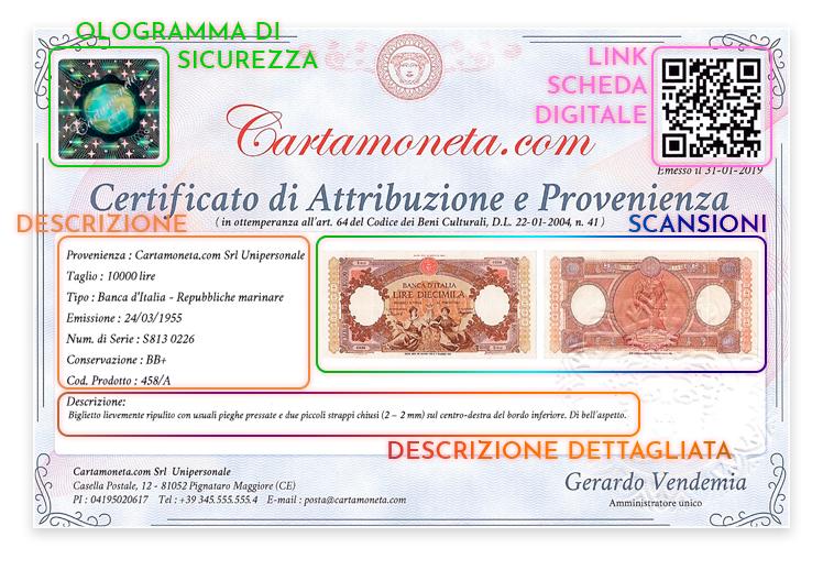 Certificato di Attribuzione e Provenienza